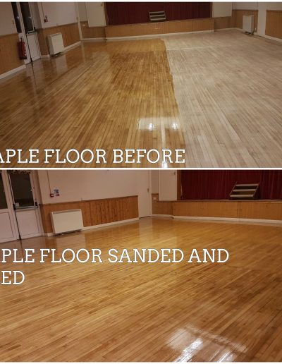 VILLAGE HALL MAPLE FLOOR SANDED AND OILED